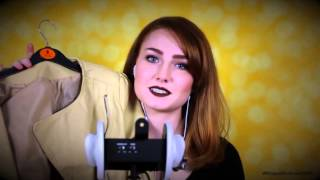 ASMR - Ear To Ear Binaural Whispering Fashion Haul - Fabric And Leather Sounds!