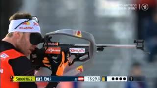 Simon EDER Kontiolahti 2014 - Amazing Standing Shooting Biathlon Sprint Men - 14.8 seconds