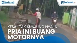 Kesal Motor Tak Kunjung Nyala, Pria Ini Buang Motornya di Pingggir Jalan