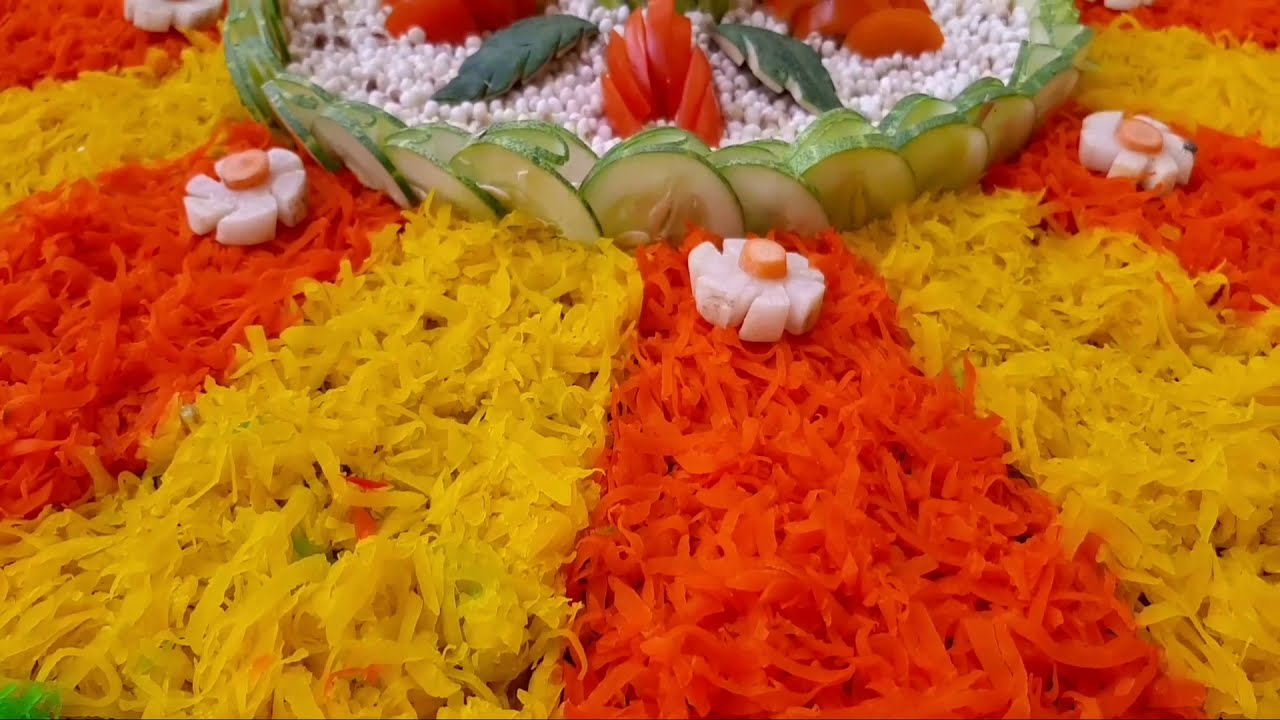 beautiful 3d rangoli design using vegetables carving by p square