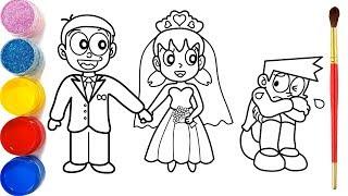 Glitter Bride And Groom Coloring Pages For Kids | Mempelai Pria Dan Wanita Halaman Mewarnai