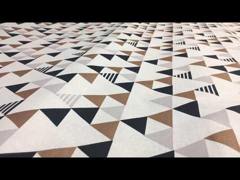 Baumwollstoff Enoki Glitzer Dreiecke weiß schwarz kupfer