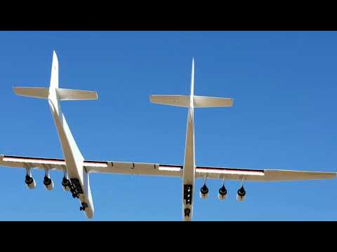 The largest plane in the world, the Stratolaunch, performed its first test flight this morning