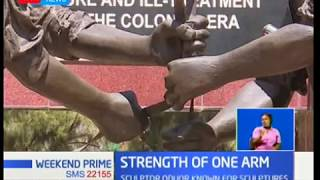 Strength Of One Arm: Sculptor Kevin Oduor known for sculptures,he does this despite disability