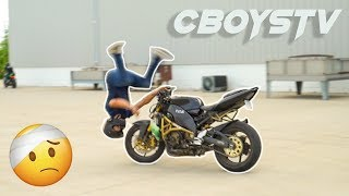 Learning how to wheelie GONE WRONG!!