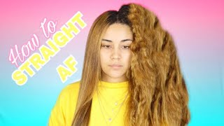HOW TO STRAIGHTEN NATURAL THICK CURLY HAIR | FRIZZY HAIR