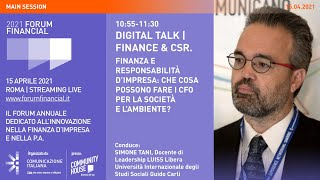 Youtube: Digital Talk | FINANZA E RESPONSABILITÀ D'IMPRESA | Financial Forum 2021