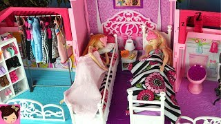 Barbie House Morning Routine Princess Bedroom Frozen 2 Queen Elsa & Anna - Barbie Car , Doll Dress