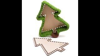 Корзинка в форме ёлочки из трикотажной пряжи