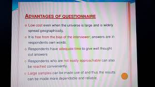 Research Methodology: Questionnaire
