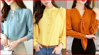 Latest And Gorgious Chiffon Blouses Neck Designs - Neck Designs For Shirts
