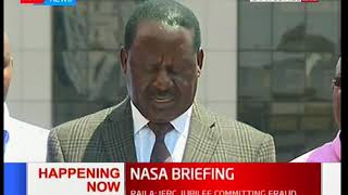 NASA leader Raila Odinga addressing the media asking for action to be taken on the IEBC officials