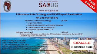 South African Oracle User Group : HR & Payroll SIG 26 June 2020