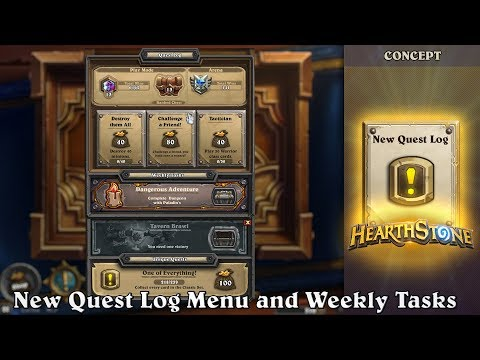 New Quest Log Menu and Weekly Tasks. Hearthstone Concept