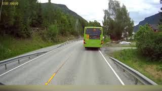 ORIGINAL: Dashcam Norway - Semi truck narrowly missing kids