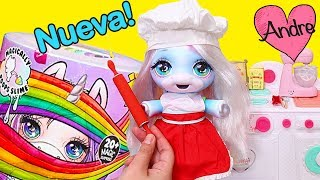 Bebe unicornio Poopsie Slime hace galletas | Jugando muñecas y juguetes con Andre para niñas y niños