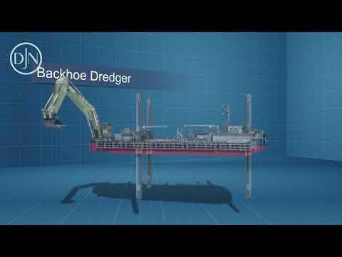 Videio Jan de Nul working of a backhoe dredger