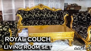 #25 Royal Gold Couch - Living Room Set | Furniture Designs @Aarsun
