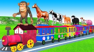 Learn Farm Animals On Train Toys For Kids - Wheels On The Bus Nursery Rhymes & Kids Songs