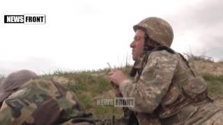 Армянский танк обстреливает позиции Азербайджана Нагорный Карабах720P HD