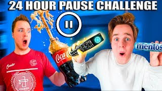 24 Hour PAUSE CHALLENGE! Coke And Mentos Prank (REVENGE)