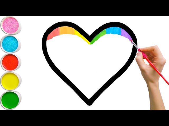Rainbow Heart Glitter Coloring For Kids   Learn Shapes, Colors For Toddlers   Magic Fingers Art #02