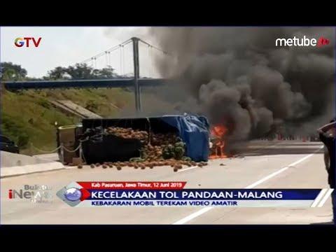 Mobil MPV Terbakar Setelah Tabrak Truk Buah di Tol Pandaan-Malang - BIM 12/06