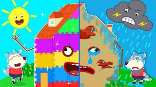 Baby Wolf  Builds Rainbow Talking Playhouse With Dad - LEGO Friendship House | Wolfoo Channel