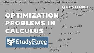📚 How To Solve Optimization Problems In Calculus (Question 1)