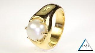 Real Salt Water Pearl Set In Gold Ring | Prakash Gems