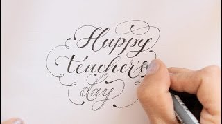 calligraphy | fancy letters | how to write happy teachers day