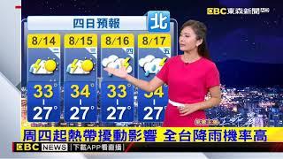 氣象時間 1070813 晚間氣象 東森新聞