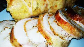 Нежный и очень вкусный куриный рулет - хоть на праздник , хоть на каждый день !