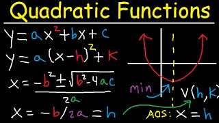 Graphing Quadratic Functions Axis Of Symmetry, Vertex & Standard Form, X Y Intercepts, Word Problems