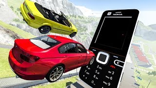 Cars Crashing Into GIANT MOBILE PHONE - BeamNG Drive Crashes