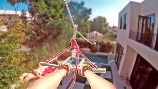 HOMEMADE BACKYARD ZIPLINE INTO POOL