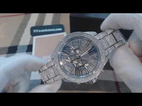 Women's Michael Kors Wren Steel Silver Crystalized Chronograph Watch MK6317
