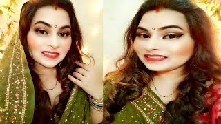 हरतालिका तीज मेकअप || TEEJ MAKEUP LOOK || Easy Hairstyle &Shimmery EYES STEP BY STEP BEGINNERS - Download this Video in MP3, M4A, WEBM, MP4, 3GP