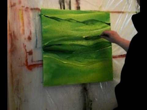 Abstrakte Acrylmalerei in Grün, abstract acrylic painting