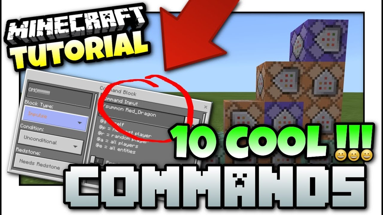 Minecraft - 10 COOL COMMANDS [ Easy Tutorial ] MCPE / Xbox