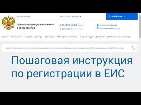 Регистрация в  ЕИС (Единой информационной системе).