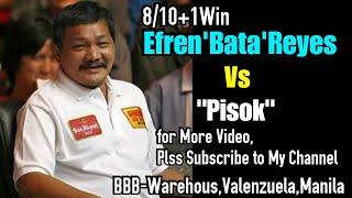 "Efren'Bata'Reyes8/10+1win Vs ""Pisok"" 44k R19/20 @BBBWarehouse,Valenzuela,Manila"