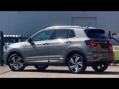 Volkswagen NEW T-Cross R-Line 2021 in 4K Limestone grey 18 inch Nevada walk around & Detail Inside