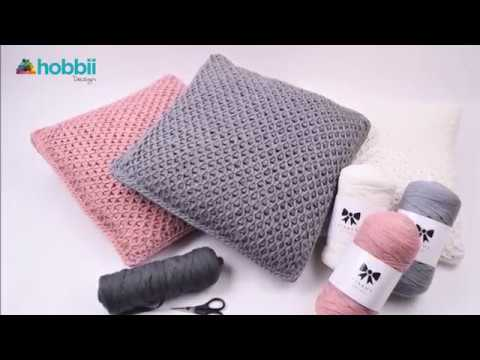 Tunesisches Kissen Mit Netzmuster Anleitungen Hobbii Hobbiide