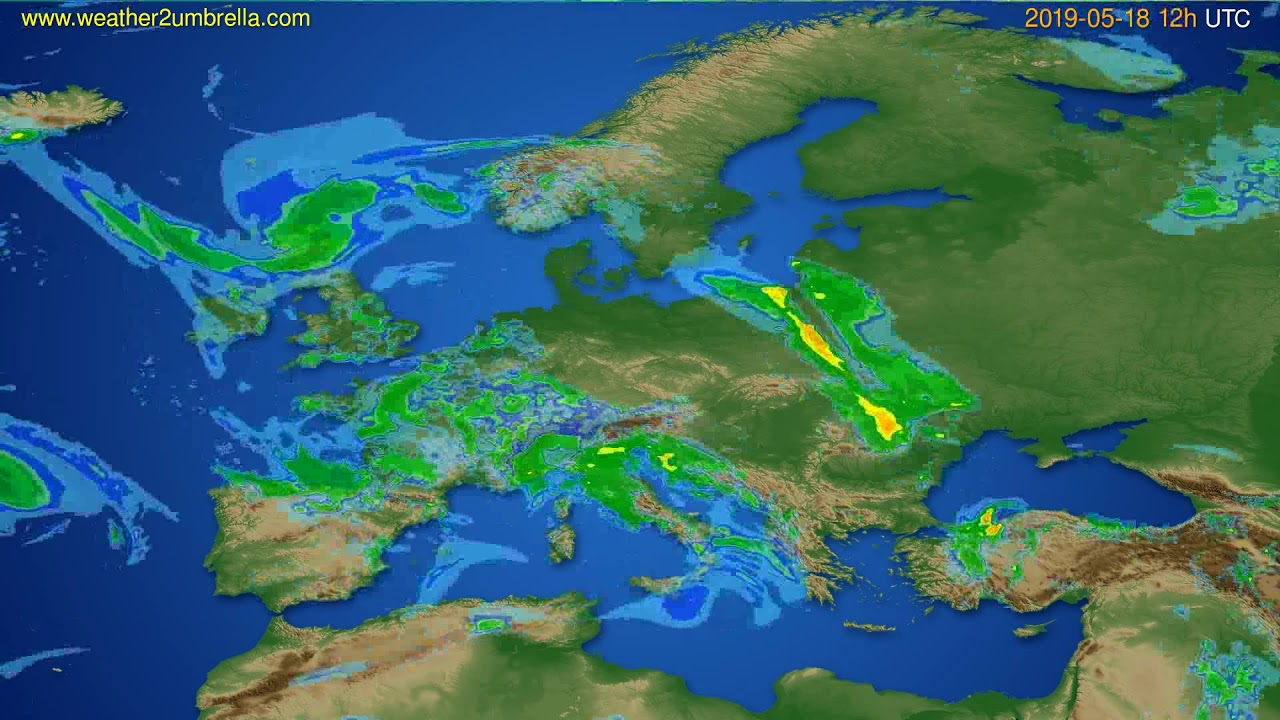Radar forecast Europe // modelrun: 00h UTC 2019-05-18