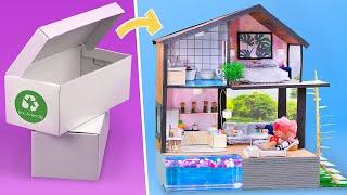 DIY Miniatur Puppenhaus in einem Schuhkarton