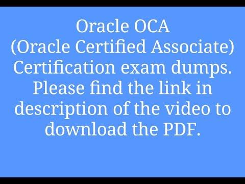 Oracle - OCA Certification exam dumps - YouTube