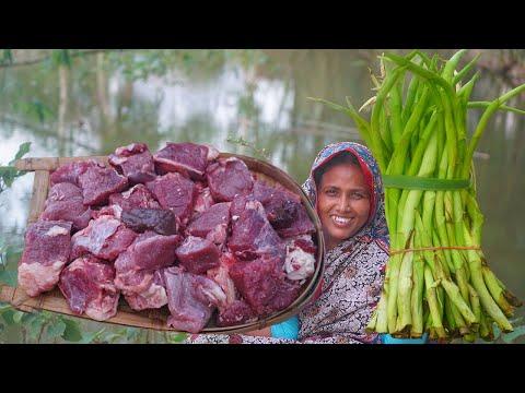 New Way Village Cooking Arum Lobe Beef Recipe Kochur Loti Gorur Gosto Ranna QUICK & EASY BEEF CURRY