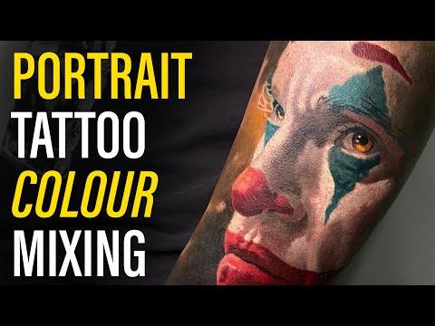 color portrait tattoo joker by ivan panayotov