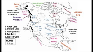 Physical Map of North American Continent (Deserts, Lakes, Mountains, Rivers, Bays, Gulfs and Seas)